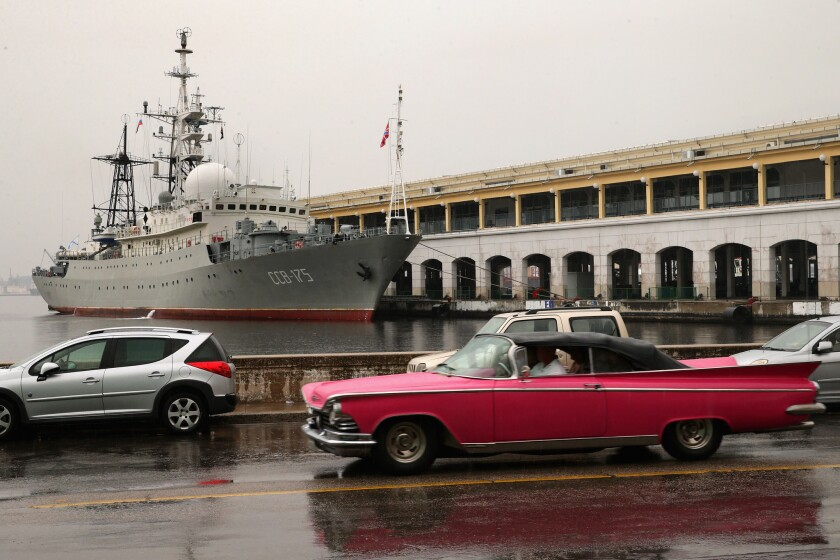 The Viktor Leonov CCB-175, a Russian Navy intelligence warship, is docked at Old Havana. The ship arrived on the eve of the start of historic talks between the United States and Cuba aimed at normalizing diplomatic relations.