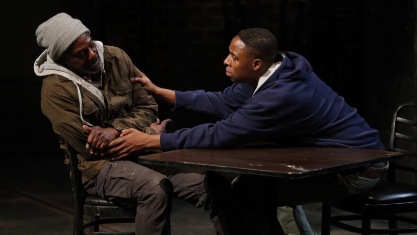 """Sweat,"" Lynn Nottage's Pulitzer Prize-winning drama about job loss in a Pennsylvania factory town, played this fall at the Mark Taper Forum. John Earl Jelks, left, portrayed a union worker long locked out of his plant, Grantham Coleman his son."