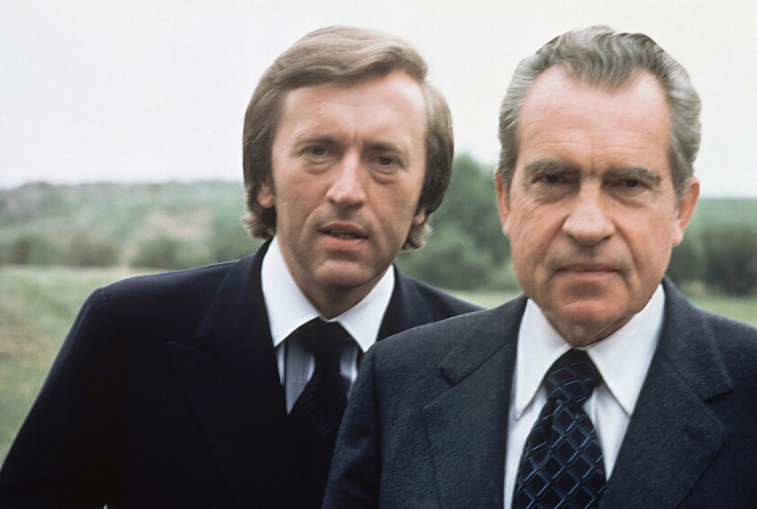 Former President Richard Nixon, right, with broadcaster David Frost in California in 1977.