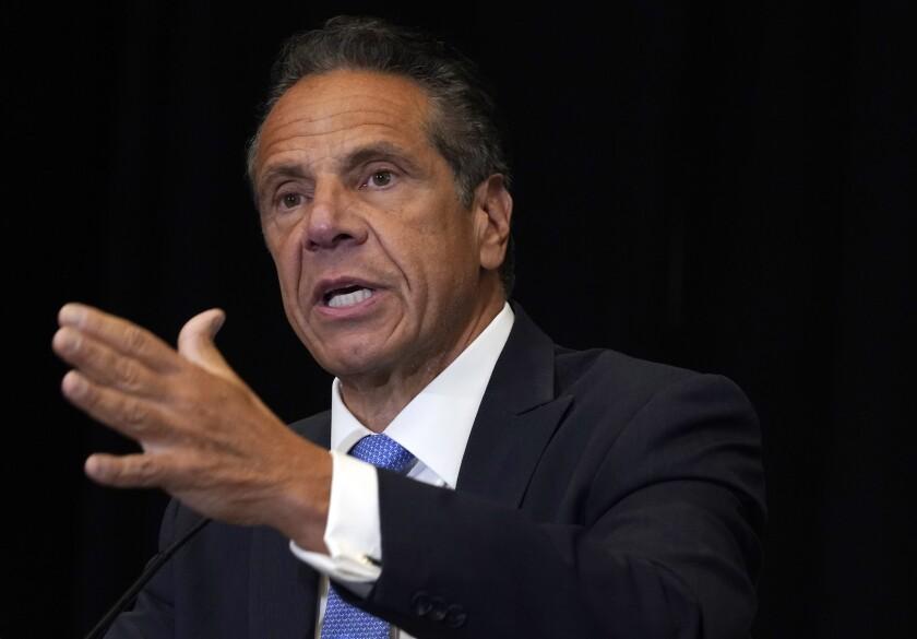 El gobernador del estado de Nueva York, Andrew Cuomo, en la ciudad de Nueva York