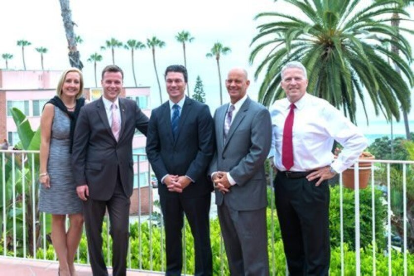 Jamie Duran, president of Coldwell Banker's Orange County, Desert Resorts and Greater San Diego companies; Justin DeCesare, CEO of Peter Middleton & Associates; Peter Middleton; Jeff Nunn, Coldwell Banker La Jolla branch manager; and Marty Conrad, Coldwell Banker San Diego regional vice preside