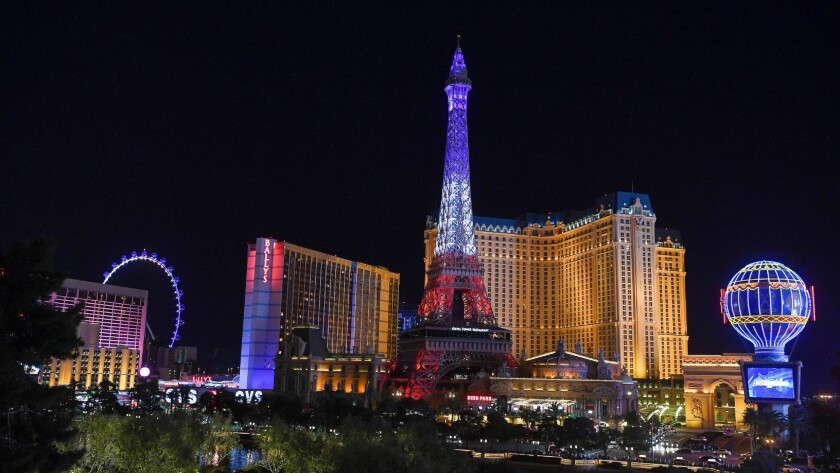 The new Eiffel Tower light display at Paris Las Vegas debuted Wednesday.