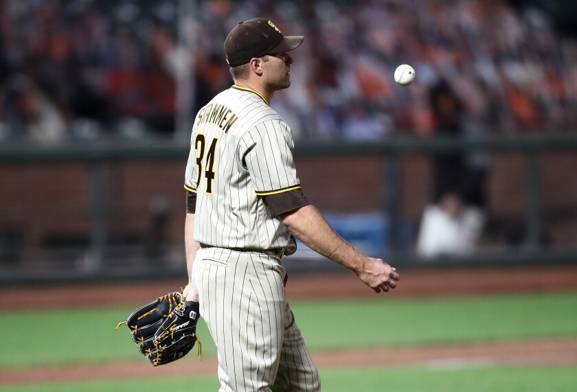 Padres reliever Craig Stammen reacts after allowing tying home run in eighth inning.