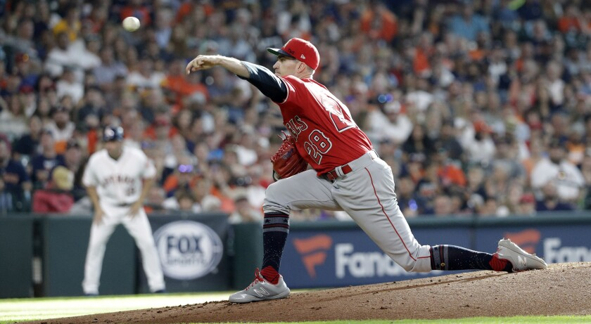 Angels starting pitcher Andrew Heaney delivers against the Houston Astros on July 6.