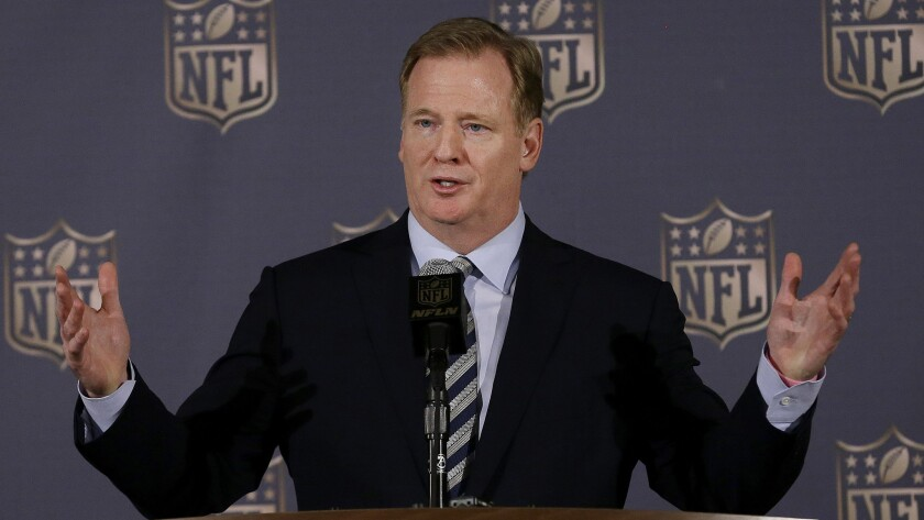 NFL Commissioner Roger Goodell speaks during a news conference in San Francisco on May 20.