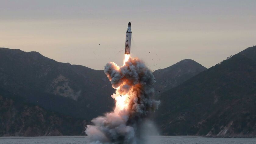 """An undated file photo released by Pyongyang's official Korean Central News Agency shows an """"underwater test-fire of a strategic submarine ballistic missile."""" U.S. officials say North Korea unsuccessfully attempted to test-fire a ballistic missile Saturday morning."""
