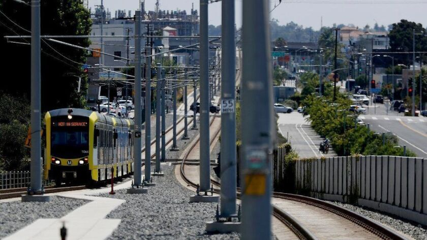 An Expo Line train pulls into the Expo/Bundy Station in West L.A. on July 2, 2018.