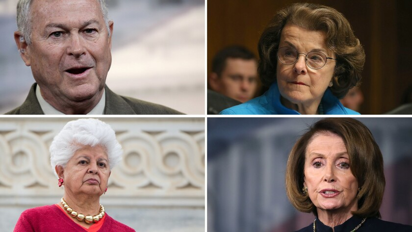 Clockwise from top left: Rep. Dana Rohrabacher, Sen. Dianne Feinstein, House Minority Leader Nancy Pelosi, Rep. Grace Napolitano