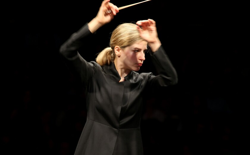 Karina Canellakis leads the Los Angeles Philharmonic at the Hollywood Bowl on Tuesday.