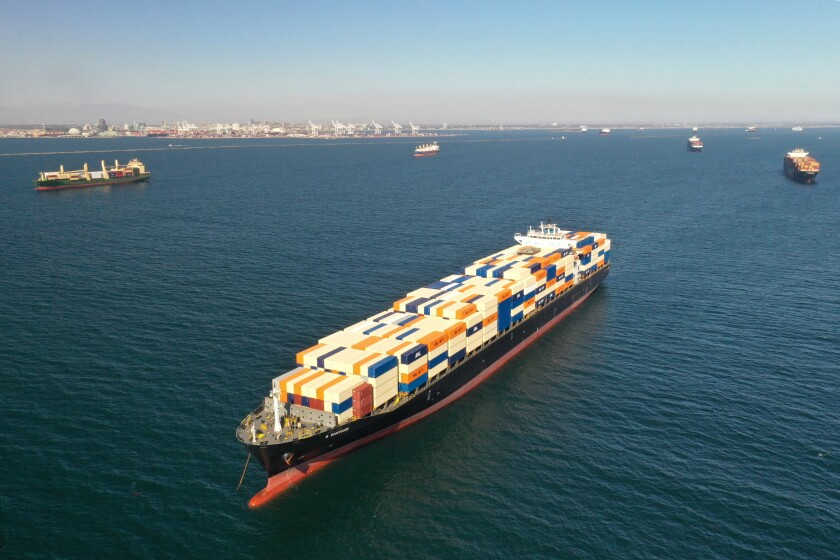 Container ships wait outside the ports of Los Angeles and Long Beach to unload on Wednesday.