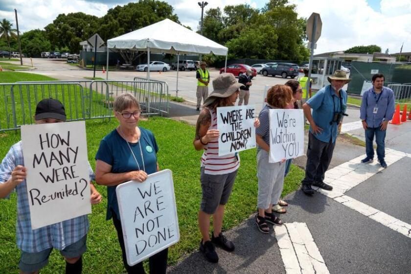 A group of activist protest in front of the Homestead Temporary Shelter for Unaccompanied Children in Homestead, Florida, USA, 03 August 2019. EFE/EPA/Cristobal Herrera
