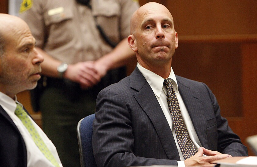 Bruce Lisker, shown in court in 2009, was awarded $7.6 million by the city to settle his claim that he was framed by the LAPD. Lisker was wrongly convicted of killing his mother and served 26 years in prison.