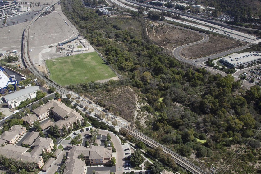 View looking south with Fenton Parkway in the middle left heading towards the San Diego River near SDSU