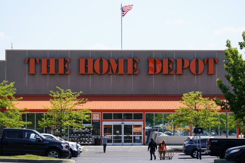 This May 19, 2021 photo shows The Home Depot location in Willow Grove, Pa. Home Depot's sales continued to rise in its fiscal second quarter, thanks to a housing market that remains hot. Chairman and CEO Craig Menea said in a statement on Tuesday, Aug. 17, that this was the first time in its history that the chain surpassed sales of more than $40 billion in a quarter. (AP Photo/Matt Rourke)