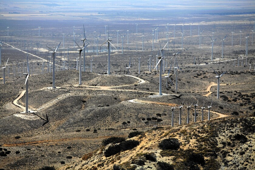 Wind turbines in the Tehachapi Mountains; Gov. Jerry Brown's proposal to significantly boost the amount of energy California derives from renewable sources could reinvigorate the state's utility-scale solar and wind industries.
