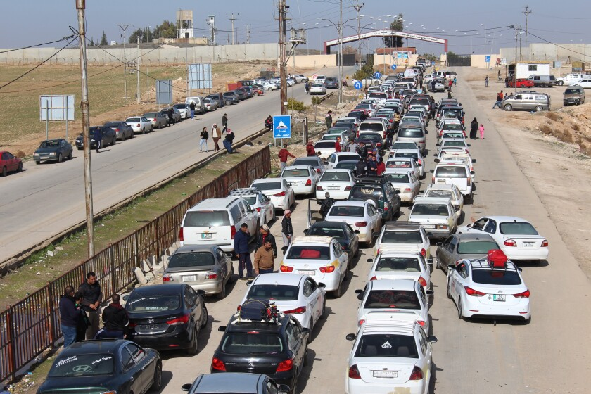 Border gate procedures make the crossing between Syria and Jordan difficult.