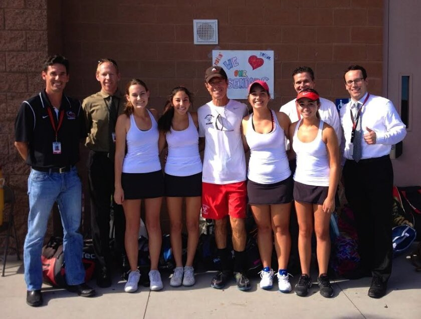 "The CCA Ravens celebrate and honor their senior (Class of 2015) Varsity Tennis Players on ""Senior Day"": (L-R) Athletic Director Eric Smith, Assistant Principal Jeff Copeland, Matilda Donovan, Hayley Scarano, Coach Larry Belinsky, Otilia Popa, Madison Ross, Principal Karl Mueller, and Assistant Prin"