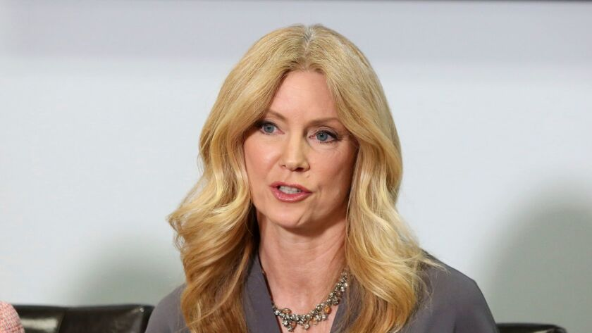 Former Fox News contributor Wendy Walsh appears at a news conference in the Woodland Hills section o