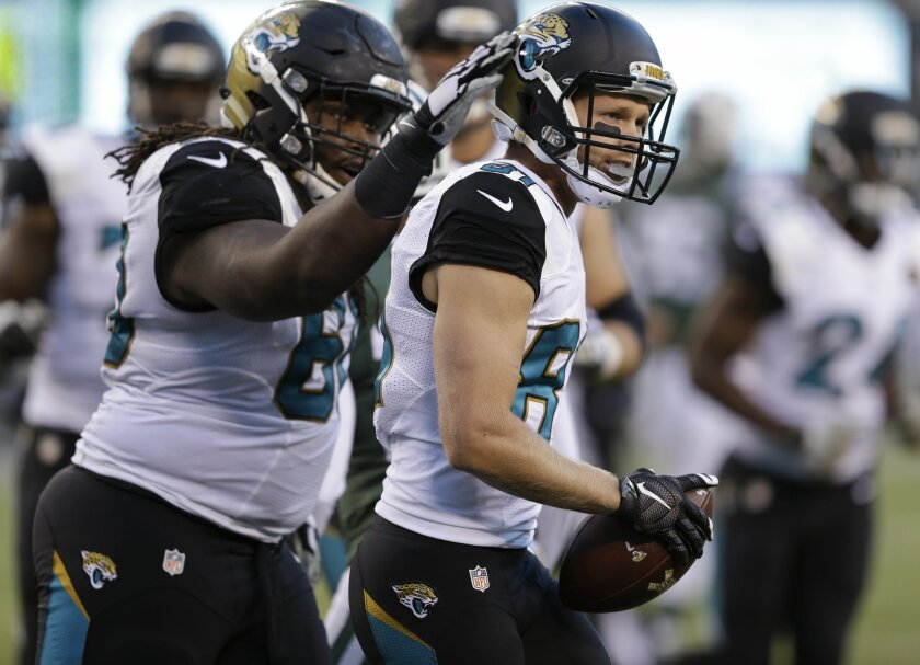Jacksonville Jaguars wide receiver Bryan Walters (81) is congratulated by offensive guard A.J. Cann (60) after catching a pass for a touchdown against the New York Jets during the fourth quarter of an NFL football game, Sunday, Nov. 8, 2015, in East Rutherford, N.J. (AP Photo/Seth Wenig)