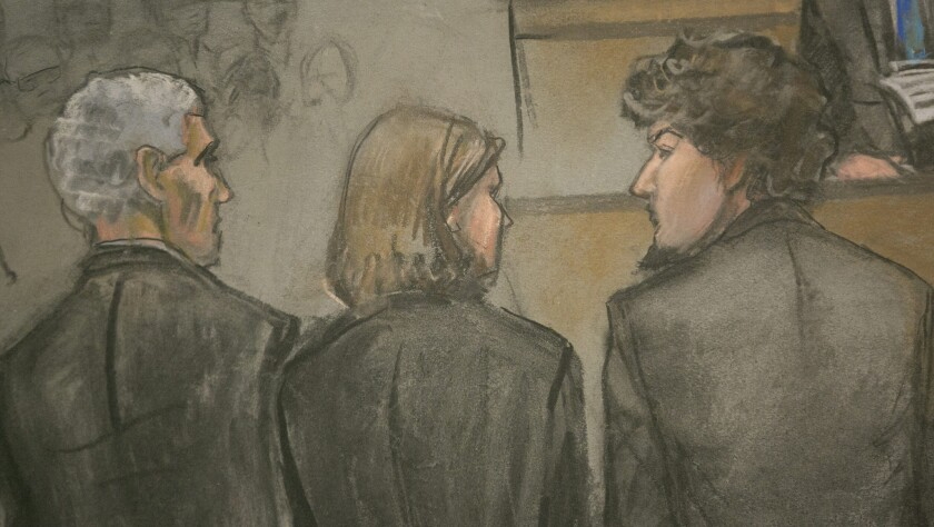 Dzhokhar Tsarnaev, right, and defense attorneys as the guilty verdicts were read, as depicted in an artist's sketch. The penalty phase is to begin April 21.