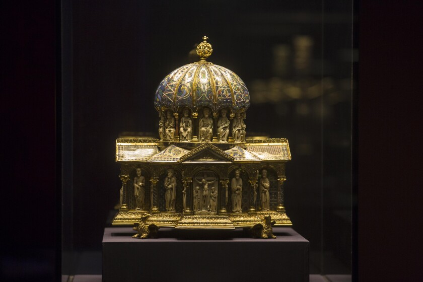FILE - In this Jan. 9, 2014 file picture the medieval Dome Reliquary (13th century) of the Guelph Treasure, is displayed at the Bode Museum in Berlin. Jed Leiber was an adult before he learned that his family was once part-owner of a collection of centuries-old religious artworks now said to be worth at least $250 million. He is on a decadeslong mission to reclaim some 40 pieces of the Guelph Treasure, artwork, that his grandfather was forced to sell to the Nazis. It's a pursuit that's now landed him at the Supreme Court, in a case to be argued Monday. (AP Photo/Markus Schreiber,file)