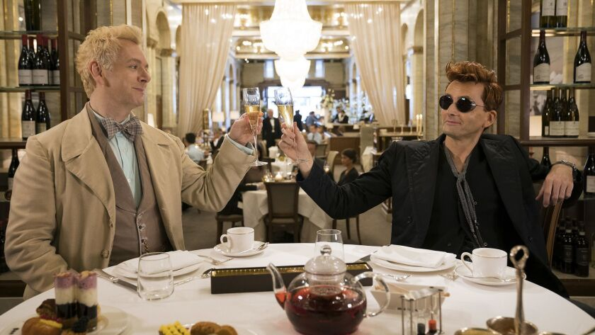"Michael Sheen and David Tennant in ""Good Omens."""