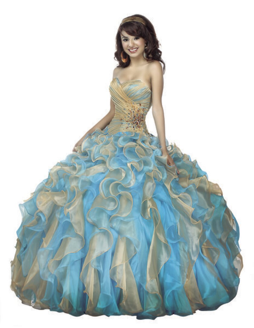 This Pocahontas gown -- one of two in the Disney Royal Ball Quinceñera Collection -- features beading on the bodice and cascading ruffles on the skirt.