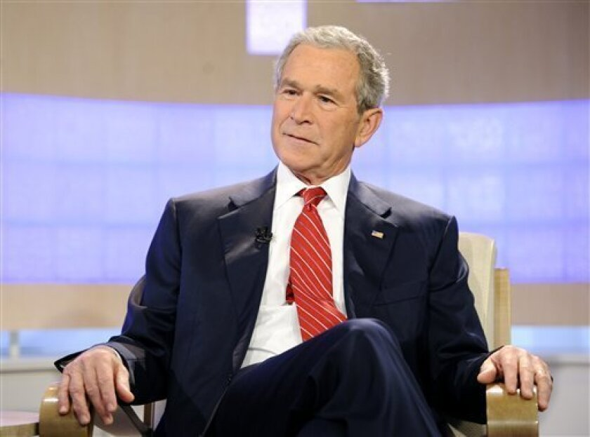 """In a Nov. 10, 2010 photo provided by NBC Universal, Inc., former U.S. President George W. Bush appears on the """"Today"""" show to talk about his new book """"Decision Points"""" . (AP Photo/NBC Universal, Inc., Peter Kramer)"""