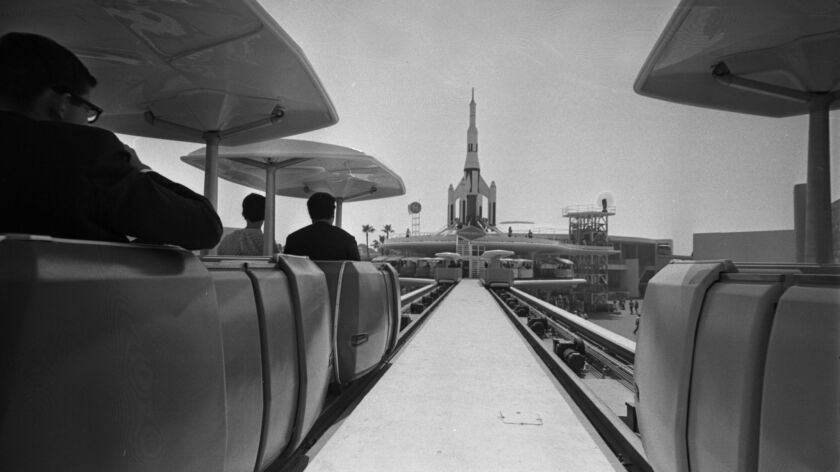June 28, 1967: The new PeopleMover is run through a remodeled Tomorrowland at Disneyland during pres