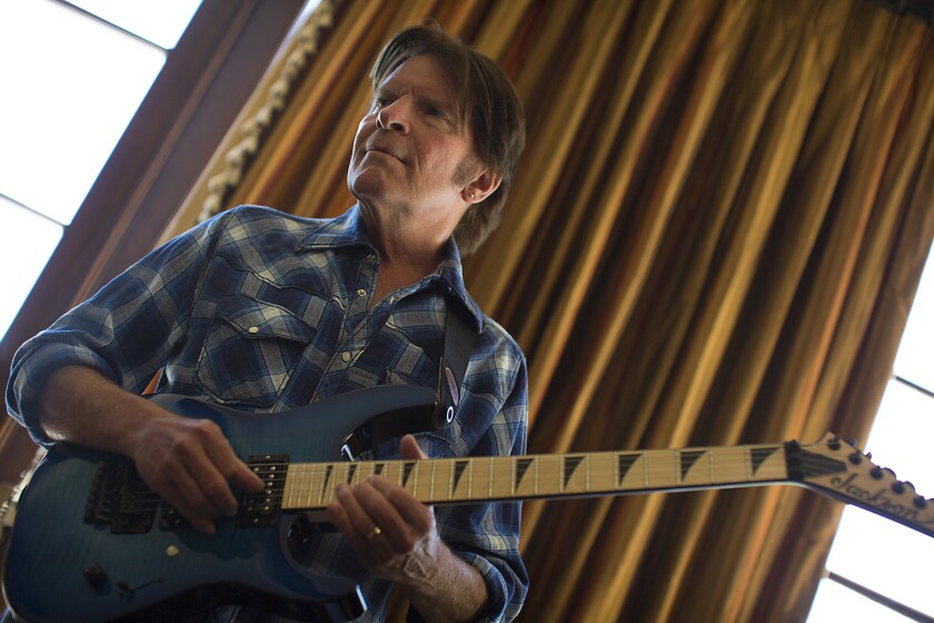"""In his new album """"Wrote a Song for Everyone,"""" John Fogerty, photographed May 3 in Beverly Hills, revisits his classic Creedence Clearwater Revival songbook in duets with partners such as Foo Fighters and Jennifer Hudson and throws in two new songs which he says rank with the longtime favorites."""