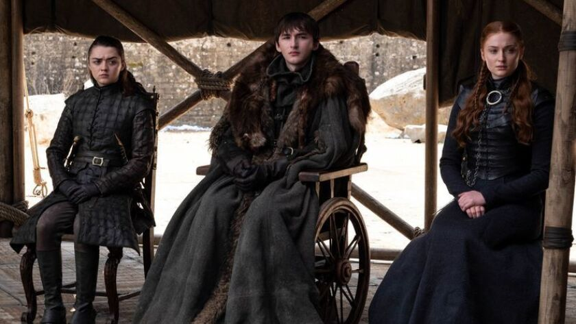 "From left: Maisie Williams, Isaac Hempstead Wright and Sophie Turner in a scene from the finale of ""Game of Thrones."""