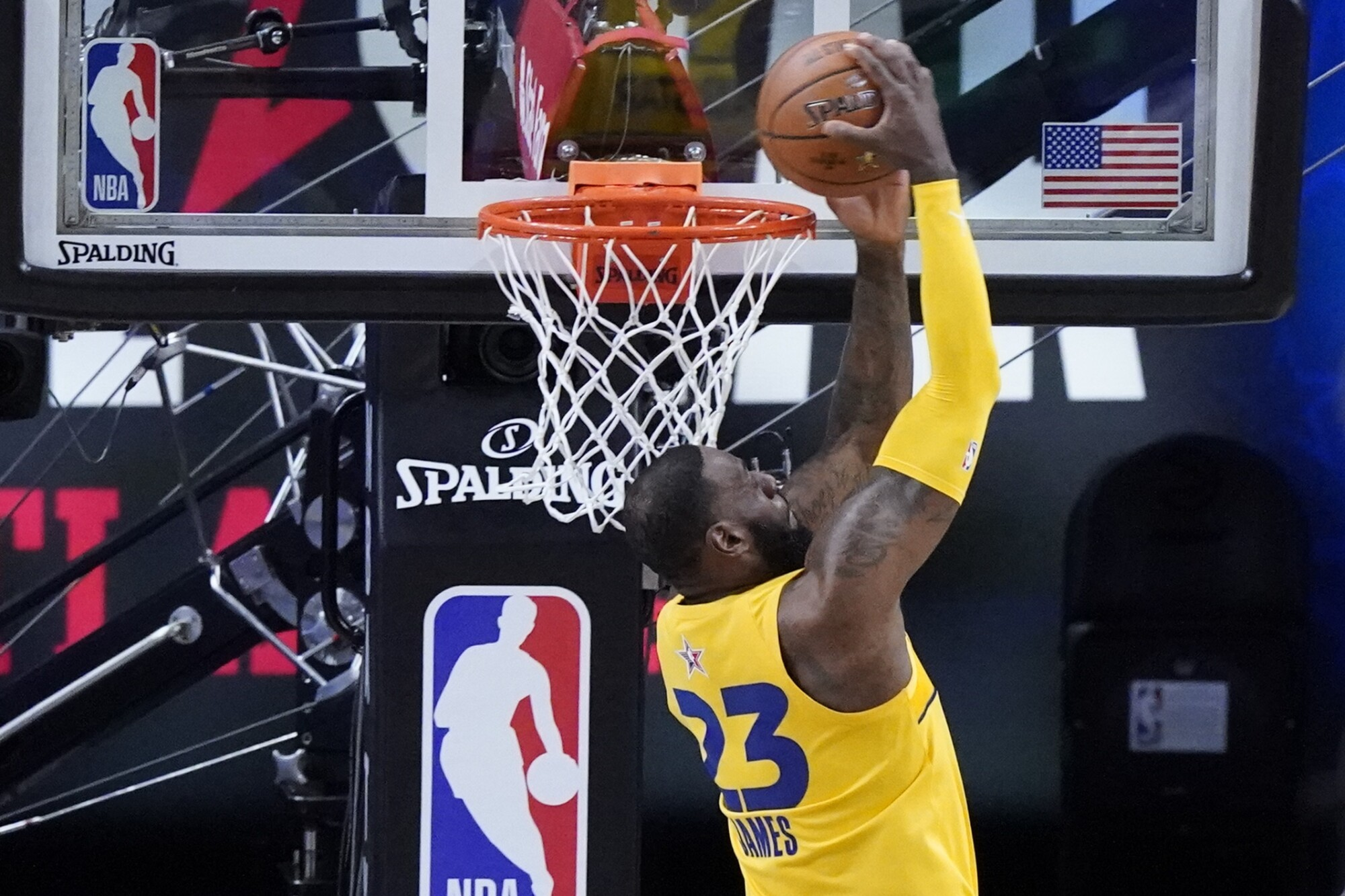 Lakers forward LeBron James dunks during the first half of the NBA All-Star game in Atlanta on Sunday,.