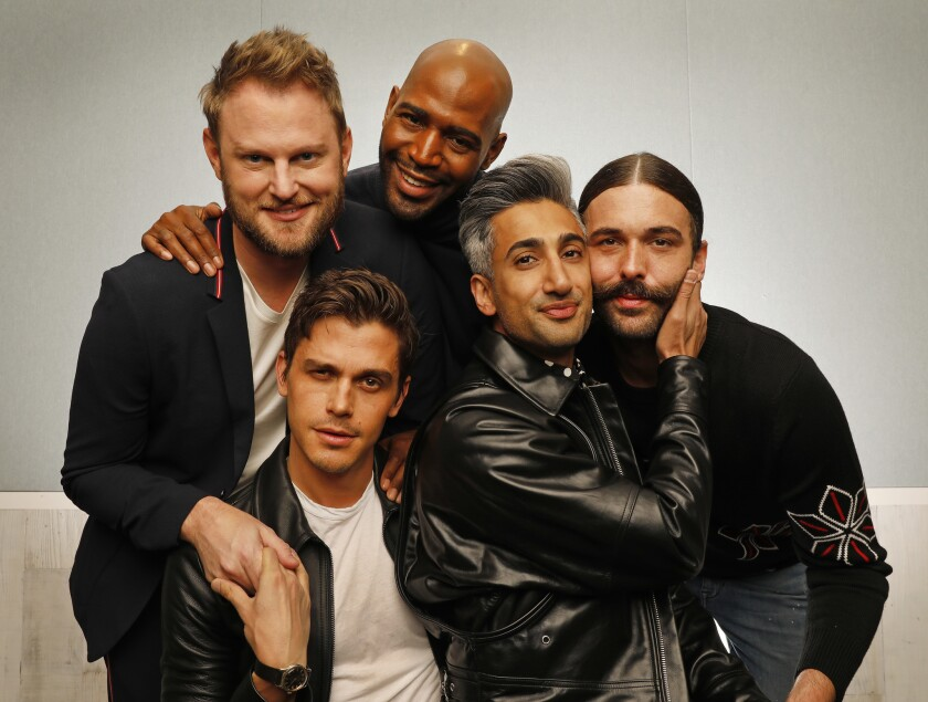 "LOS ANGELES, CA – May 10, 2018: the new ""Queer Eye for the Straight Guy"" team -- Bobby Berk, Anto"