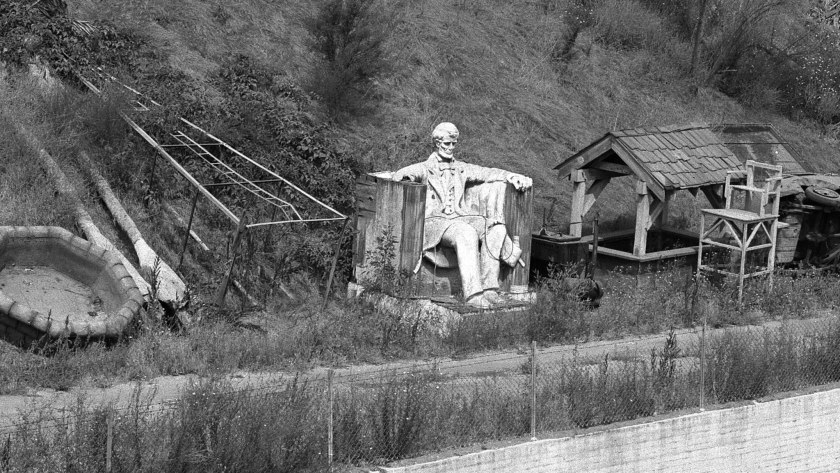 July 1956: Part of a replica of the Lincoln Memorial overlooks the L.A. River in Studio City.