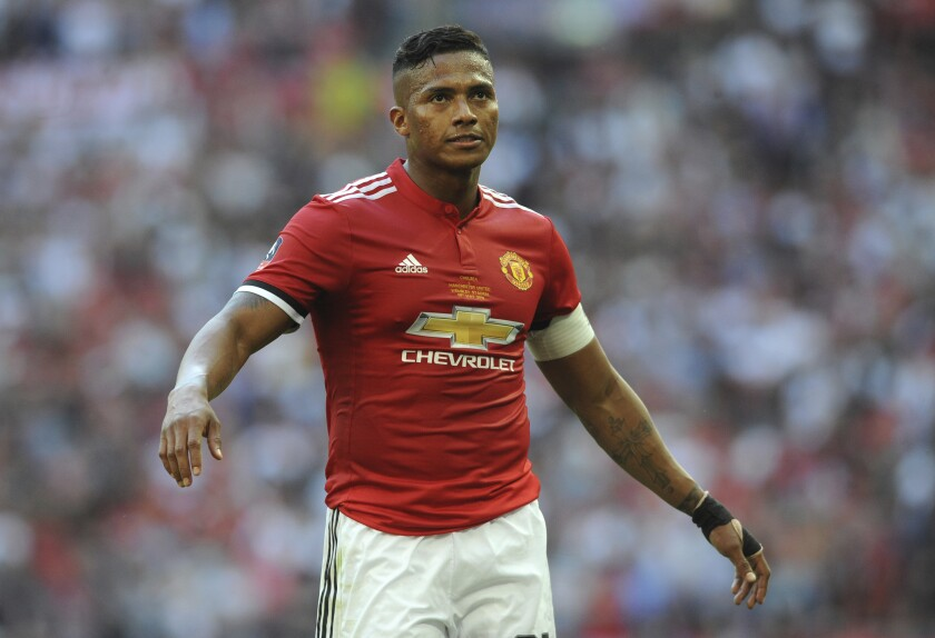 FILE - In this May 19, 2018 file photo, Manchester United's Antonio Valencia during the English FA Cup final soccer match with Chelsea at Wembley stadium in London, England. Valencia announced his retirement from professional football on May 12, 2021, citing problems in one of his knees. (AP Photo/Rui Vieira, File)