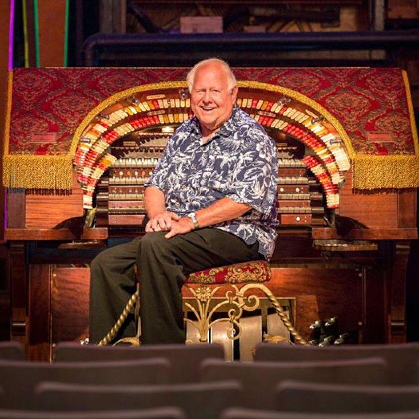 Bill Field seated at the Wurlitzer at El Segundo's Old Town Music Hall