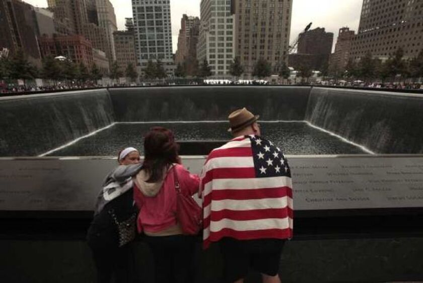 A view of the 9/11 Memorial in downtown New York.
