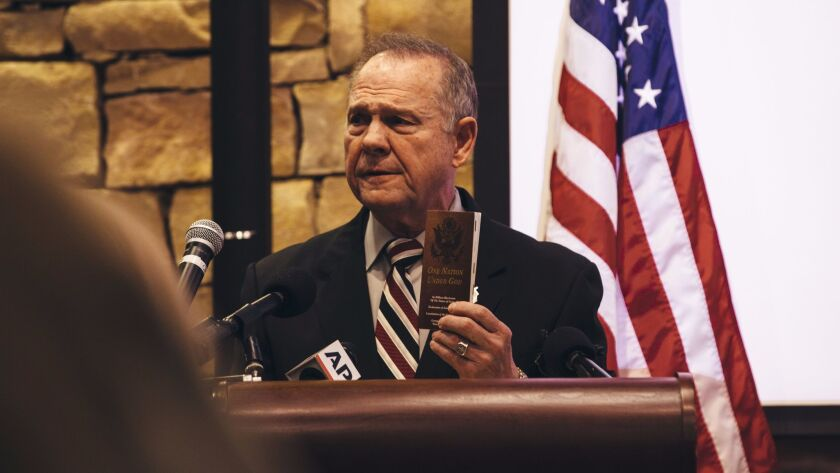 Roy Moore speaks during a Veterans Day event on Nov. 11 in Vestavia Hills, Ala.