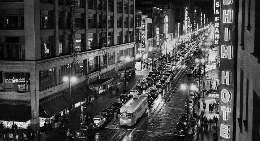 This photograph of the view from 7th St. looking north up Broadway on the evening of April 23, 1950 ran in the next day's Los Angeles Times.