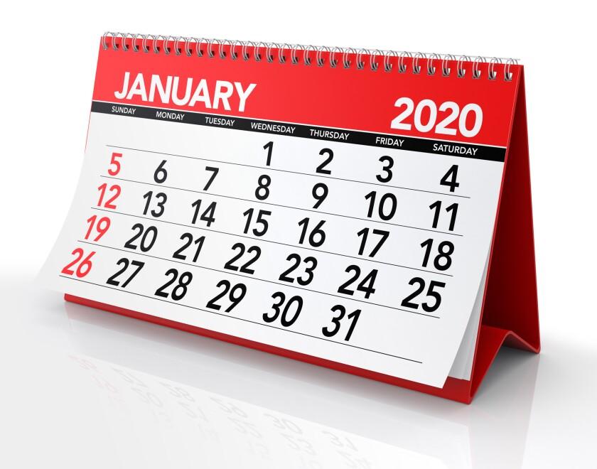 January 2020 Calendar clip art
