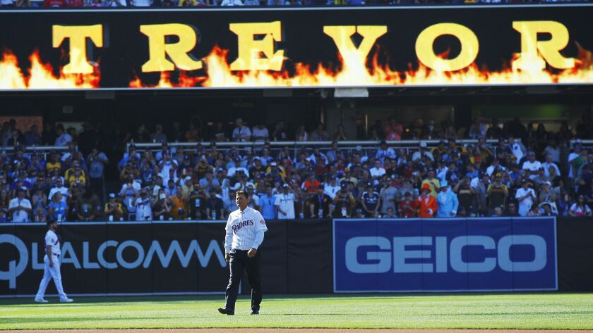Trevor Hoffman delivered the game ball at the All-Star Game at Petco Park.