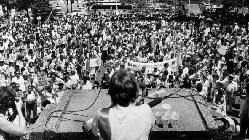 Eleanor Smeal addresses an Equal Rights Amendment rally in Detroit as the president of NOW in 1980.