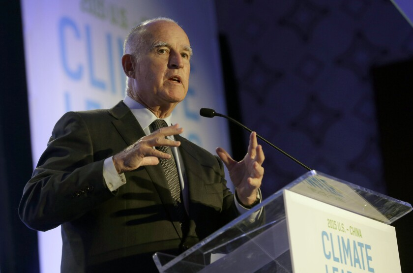 Gov. Jerry Brown speaks at a U.S.-China climate summit in Los Angeles on Sept. 15.