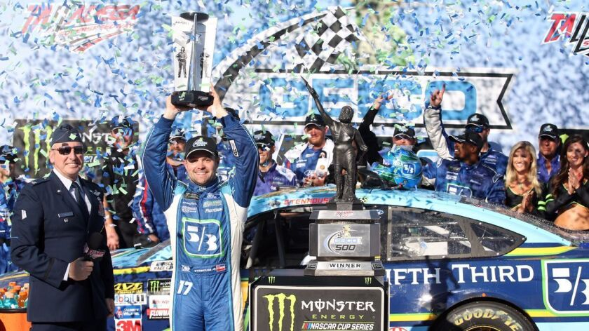 TALLADEGA, AL - MAY 07: Ricky Stenhouse Jr., driver of the #17 Fifth Third Bank Ford, celebrates in