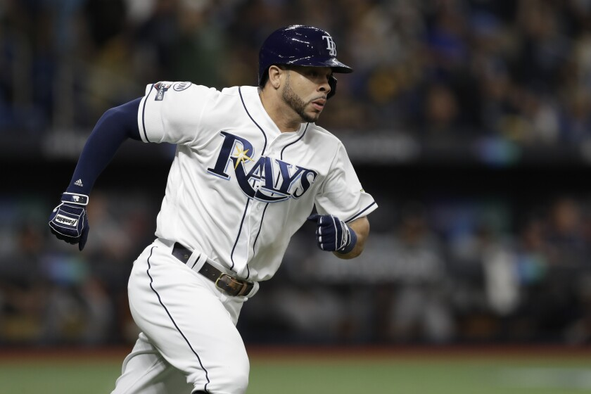 Tampa Bay Rays' left fielder Tommy Pham runs the bases against the Houston Astros during Game 4 of the American League Division Series on Oct. 9.