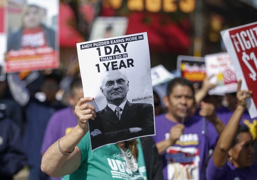 Puzder protest