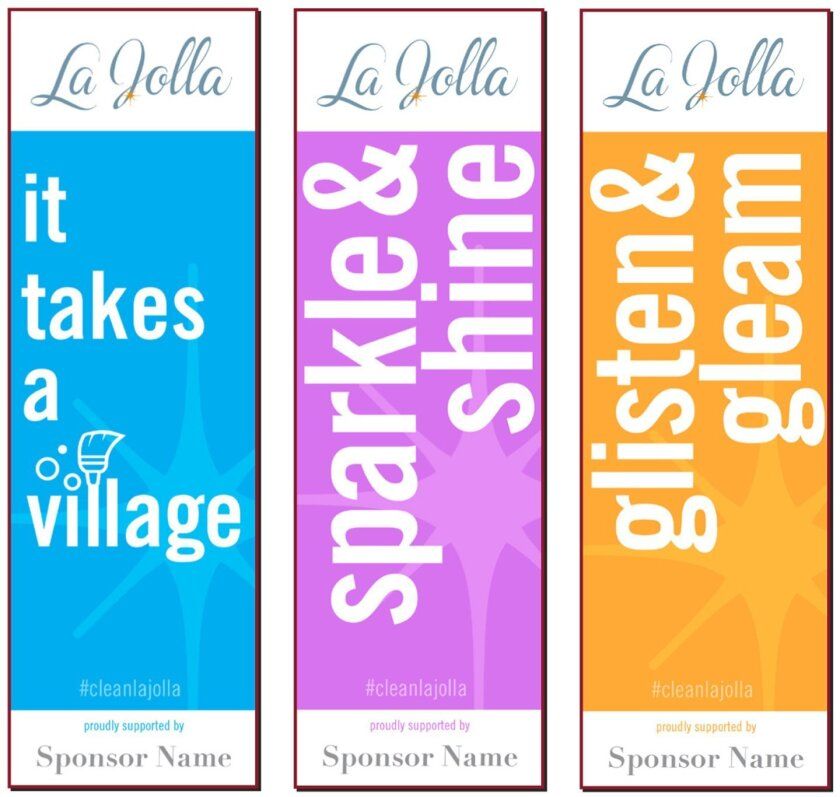 """Donors to La Jolla Village Merchants Association's """"Sparkle & Shine"""" campaign will have their names displayed on the bottom of Village banners."""