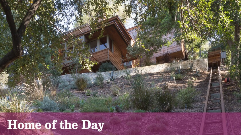 A funicular adds practicality to the retreat's hillside setting in Studio City.