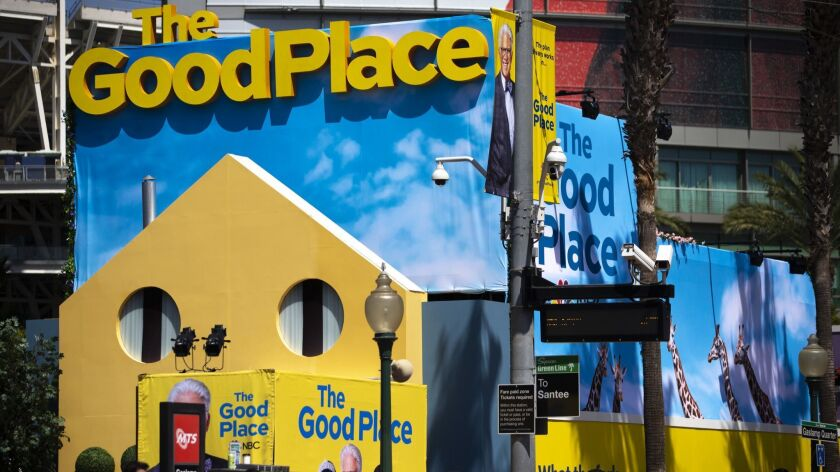 """The Good Place"" activation near the Gaslamp Quarter on the second day of Comic-Con at the San Diego Convention Center."