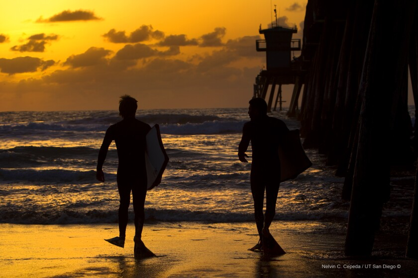 James Willmott (l) and Anthony Zambrano (r) head out to Imperial Beach with boogie boards